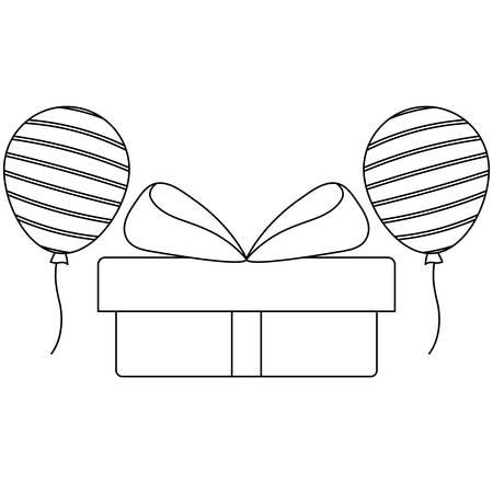 gift box present with balloons helium vector illustration design  イラスト・ベクター素材