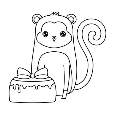 cute monkey animal with cake of birthday vector illustration design