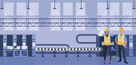 couple of workers working in factory vector illustration design