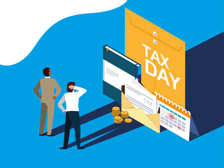 businessmen in tax day with envelope and icons vector illustration design Illustration