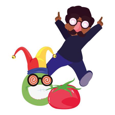 boy with crazy eyeglasses april fools day vector illustration Imagens - 122818876