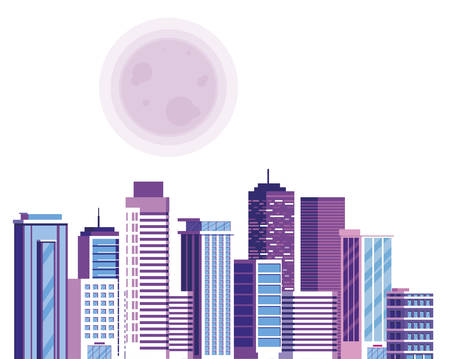 buildings metropolis with sun cityscape scene vector illustration design