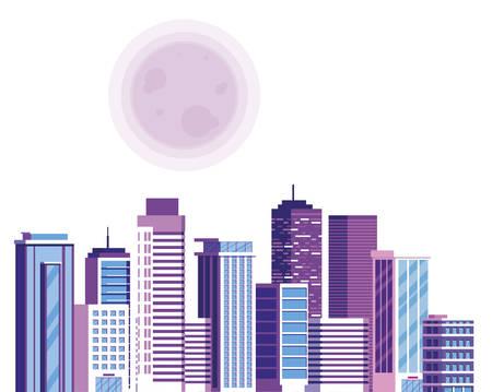 buildings metropolis with sun cityscape scene vector illustration design