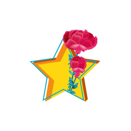 beautiful flowers in star isolated icon vector illustration design