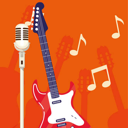 guitar electric and microphone instruments vector illustration design Ilustracja