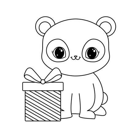 panda bear animal with gift box vector illustration design Illustration