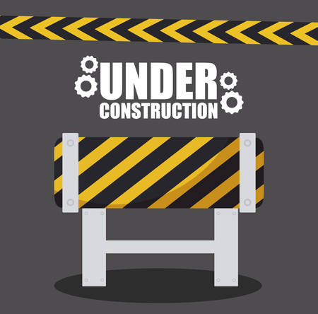 under construction label with barricade fence vector illustration design