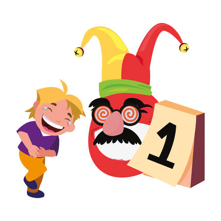 boy emoji face april fools day vector illustration