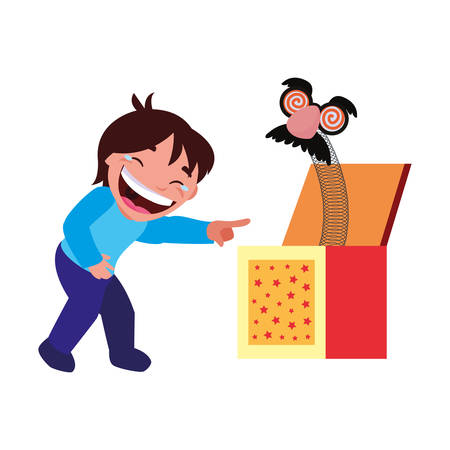boy mask in the box april fools day vector illustration Imagens - 122819072