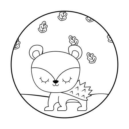 cute porcupine animal in forest scene vector illustration design Illustration