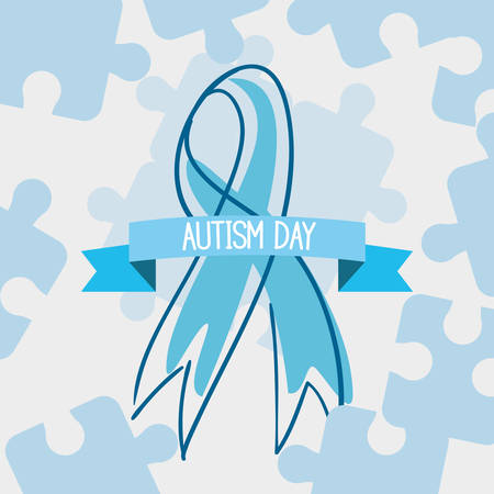 autism day campaign blue ribbon puzzles vector illustration