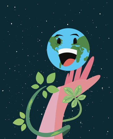 hand kawaii world leaves happy earth day vector illustration Ilustração