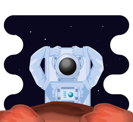 astronaut character in space scene vector illustration design