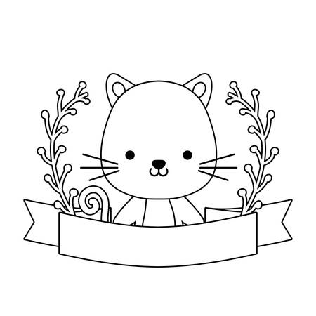 cute cat animal with ribbon and branches of leafs vector illustration design