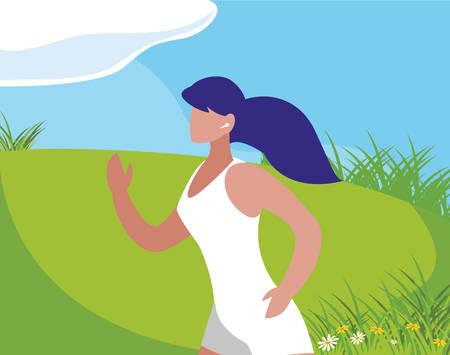 athletic woman running in the camp vector illustration design Ilustração
