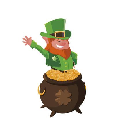 saint patrick lemprechaun with treasure cauldron vector illustration design