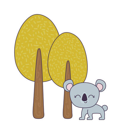 cute koala animal with trees plant vector illustration design