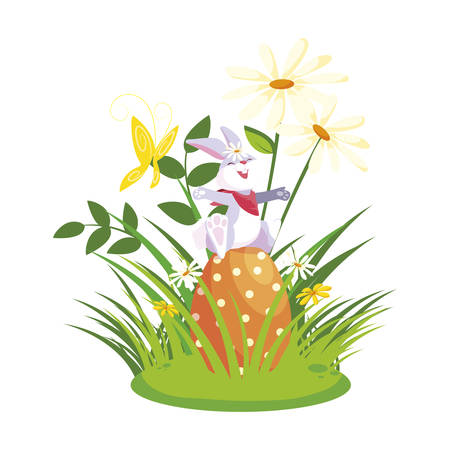 cute rabbit easter with eggs painted in the garden vector illustration design Illustration
