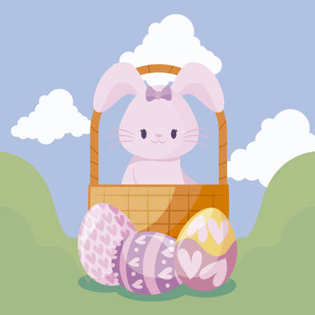 cute rabbit in basket and eggs of easter vector illustration design Фото со стока - 122780327