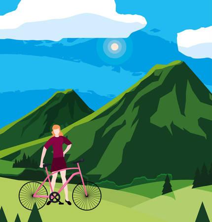 man riding bike mountain landscape vector illustration