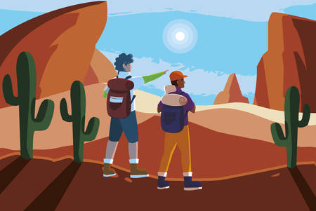 adventurous couple with travelbag in the desert vector illustration design