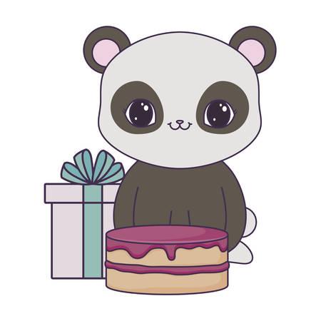 Ours panda avec gâteau d'anniversaire et boîte cadeau vector illustration design Vecteurs