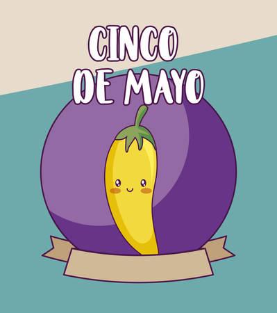 cinco de mayo celebration with chili pepper vector illustration design