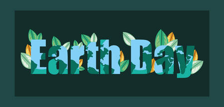 happy earth day sign with leaves nature vector illustration Standard-Bild - 122782477