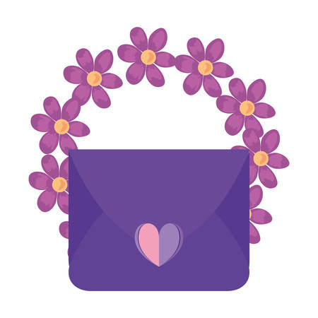mail message love heart flowers vector illustration Imagens - 122782534
