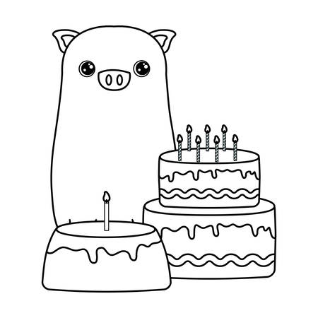 cute piggy with cakes of birthday vector illustration design