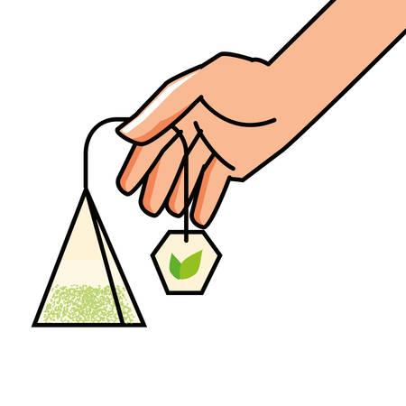 hand with bag of tea herb vector illustration design