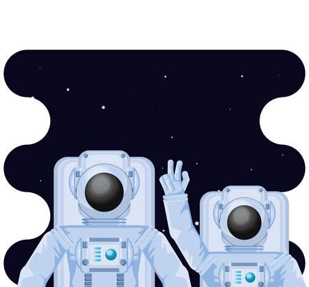 astronauts characters in space scene vector illustration design