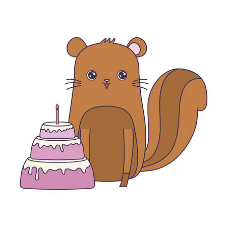 cute chipmunk animal with cake of birthday vector illustration design Vectores