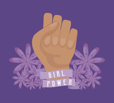 girl power celebration card with hand fist vector illustration design Çizim