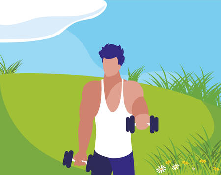athletic man weight lifting in the camp vector illustration design Ilustração
