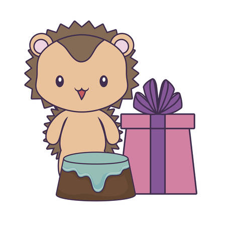 cute porcupine with cake of birthday and gift box vector illustration design