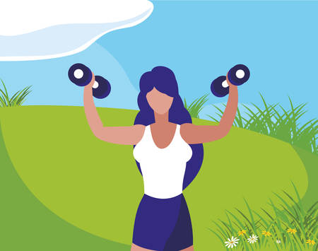 athletic woman weight lifting in the camp vector illustration design  イラスト・ベクター素材
