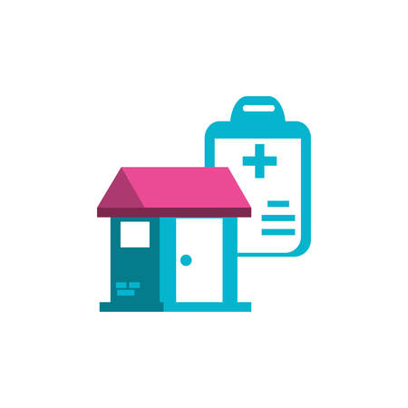 clipboard with document hospital and house facade vector illustration design