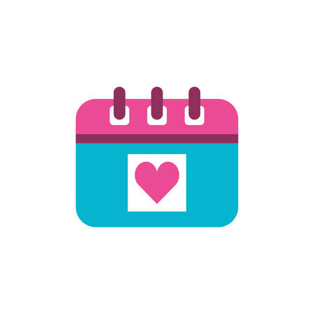 calendar reminder with heart isolated icon vector illustration design