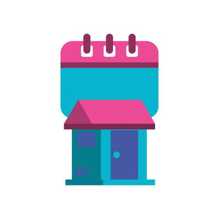 calendar reminder with house facade vector illustration design