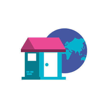 planet earth with house building vector illustration design Stock Illustratie