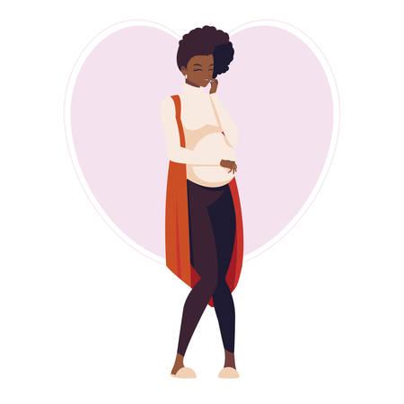beautiful afro pregnancy woman in heart character vector illustration design Ilustração