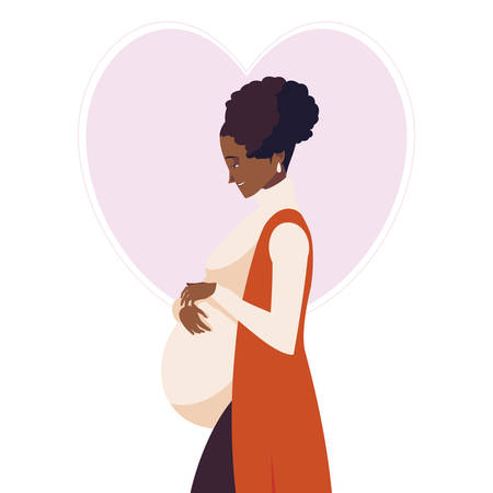 beautiful afro pregnancy woman in heart character vector illustration design Illustration