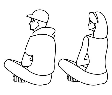 couple seated back characters vector illustration design Иллюстрация