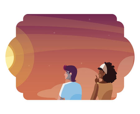 interracial couple contemplating horizon of sky sunset vector illustration design