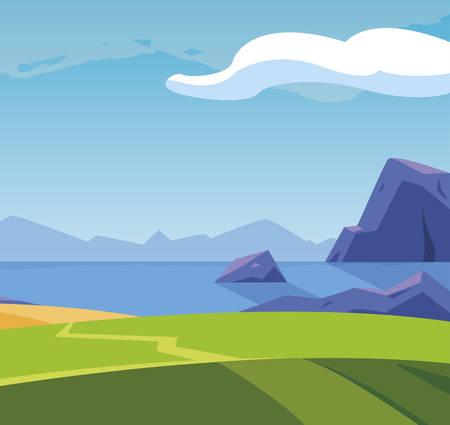field camp landscape scene vector illustration design  イラスト・ベクター素材