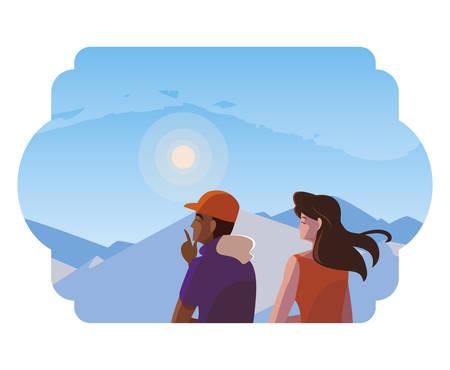 couple contemplating horizon in snowscape scene vector illustration design Illustration