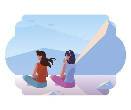women couple contemplating horizon in snowscape scene vector illustration design