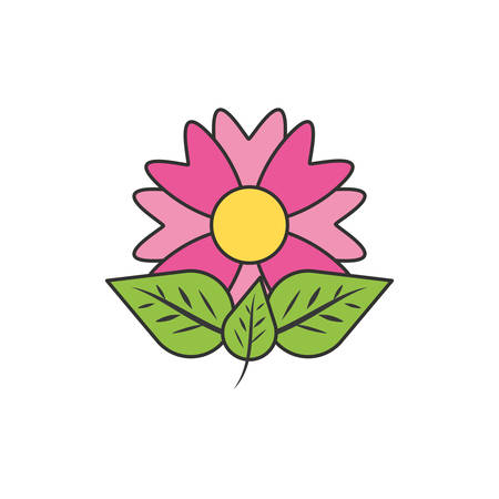 beautiful flower natural with leafs vector illustration design Illustration