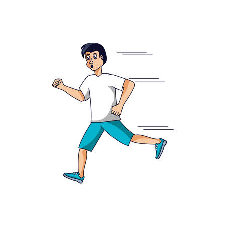 man athletic running avatar character vector illustration design